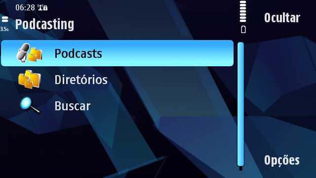 """Escolha a opção """"Podcasts"""""""